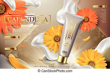 calendula essential oil ad, contained in tube, creamy...