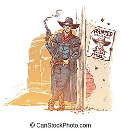 Robber with a smoking gun - Vector illustration of a robber...