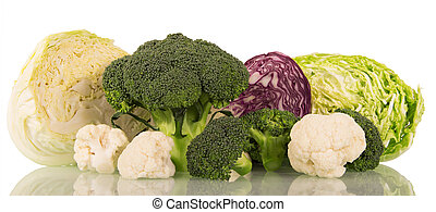 Various types fresh cabbage isolated on white background. -...