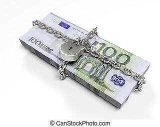 isolated on a white background pack dollars closed lock, the concept of the safe storage funds, 3d render