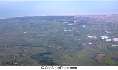 Fields of Italy. Coast from aircraft