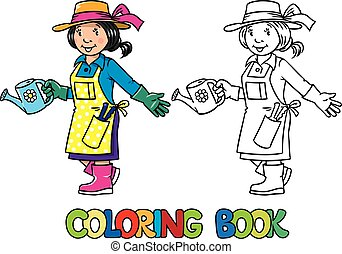 Coloring book of funny woman gardener. - Coloring picture or...