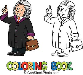 Coloring book of funny judge - Coloring picture or coloring...