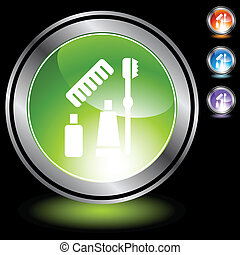 Toiletries web button isolated on a background.