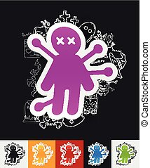 voodoo Doll paper sticker with hand drawn elements - hand...