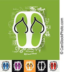 slippers paper sticker with hand drawn elements - hand drawn...