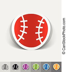 realistic design element. baseball - baseball paper sticker...