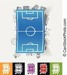 playing field paper sticker with hand drawn elements - hand...