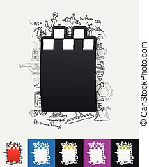 taxi paper sticker with hand drawn elements - hand drawn...