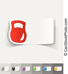 realistic design element. weight - weight paper sticker with...