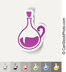 realistic design element. decanter - decanter paper sticker...