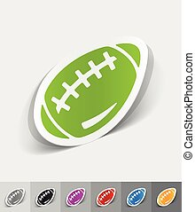 realistic design element. rugby ball - rugby ball paper...