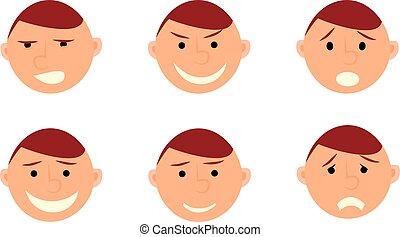Human emotions. Men faces on white background.