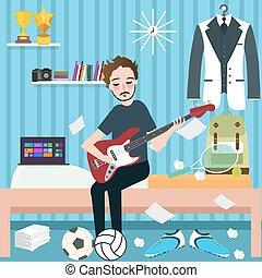 プレーしなさい, 部屋, ギター, 男の子, 音楽, 保有物, 寮, 人