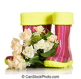 Children rubber boots with fabric insert and bouquet roses...