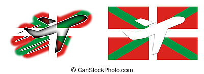 Nation flag - Airplane isolated - Basque Country - Nation...