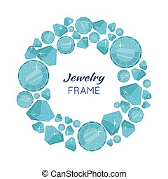 Round Frame Made of Diamonds. - Jewelry round frame with...