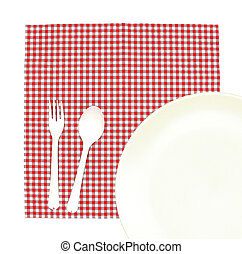 Top view plate with fork and spoon on tablecloth for food...