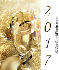 2017 New year 's eve - 2017 greeting card with glasses of...