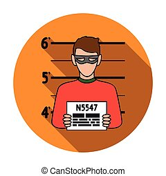Prisoner's photography icon in flat style isolated on white background. Crime symbol stock vector illustration.