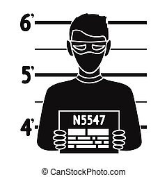 Prisoner's photography icon in black style isolated on white background. Crime symbol stock vector illustration.