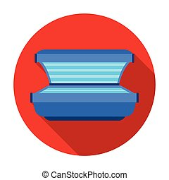 Tanning bed icon in flat style isolated on white background. Skin care symbol stock vector illustration.