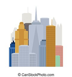 Megalopolis icon in cartoon style isolated on white...