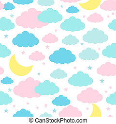 Seamless background with moon clouds and stars - Childish...