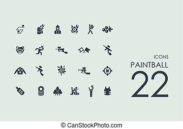 Set of paintball icons - paintball vector set of modern...