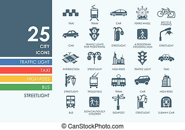 Set of city icons - city vector set of modern simple icons