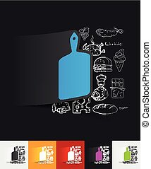board paper sticker with hand drawn elements