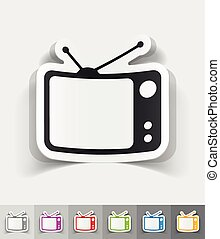 realistic design element. tv set - tv set paper sticker with...