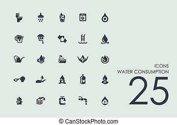 Set of water consumption icons - water consumption vector...