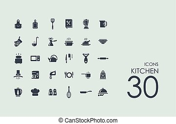 Set of kitchen icons - kitchen vector set of modern simple...