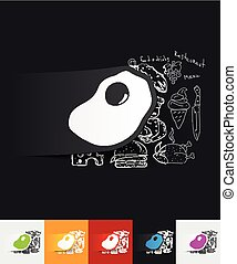 scrambled paper sticker with hand drawn elements - hand...