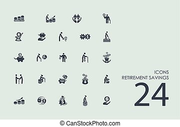 Set of retirement savings icons - retirement savings vector...