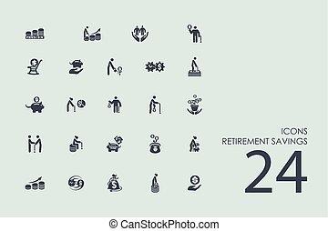 retraite, économies, ensemble, icônes