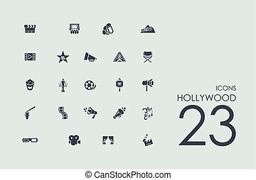 Set of Hollywood icons - Hollywood vector set of modern...