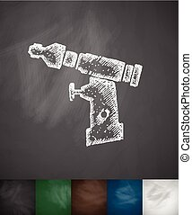 orthopedic drill icon. Hand drawn vector illustration....
