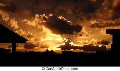 Dramatic Orange Sky At Sunset - Dramatic orange sky and...