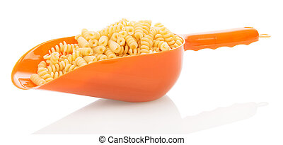 Scoop with helical pasta isolated on white. - Scoop with...