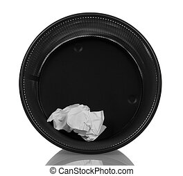 Waste basket with crumpled paper isolated on white. - Waste...