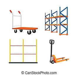 Set Of Warehouse Equipment Vector Illustrations - Set of...