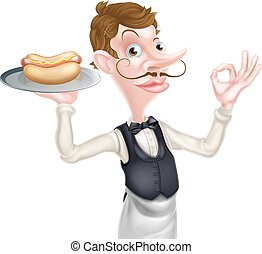 Cartoon Perfect Hotdog Butler - An Illustration of a Cartoon...