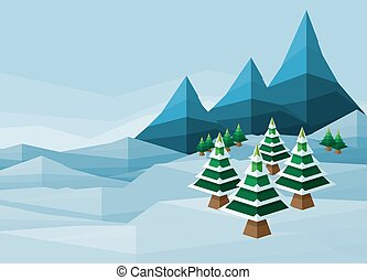 Polygon Christmas Snow Winter Background - Abstarct...