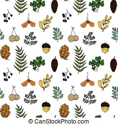 Nature illustration. Natural materials. Forest postcard. Forest fruits, leaves, branches. Seamless pattern.