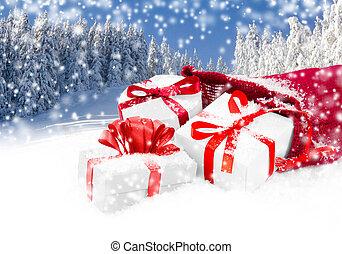 Santa Bag with Gifts - Photo of Santa Claus Bag and gifts...