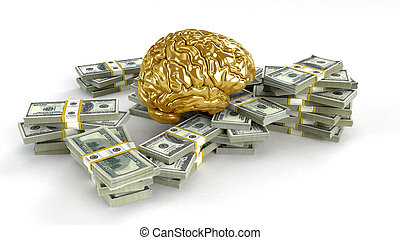 Human gold brain whith big stacks of dollars isolated on...