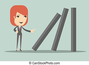 Business woman toppling dominoes. - Business woman toppling...