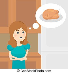 Woman on a diet dreaming of tasty food vector - Woman on a...